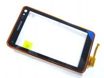Сенсорное стекло (тачскрин) Nokia N8-00 с рамкой orange original